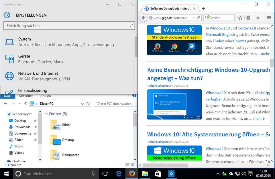 Windows-10-Shortcuts: Fenster lassen sich nun auch in jeder Ecke positionieren und anordnen.