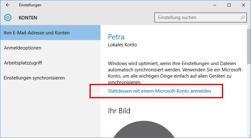 windows konto anmelden