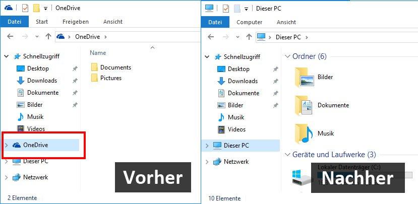 Windows 10: Das OneDrive-Symbol lässt sich ebenfalls aus dem Windows-Explorer entfernen.