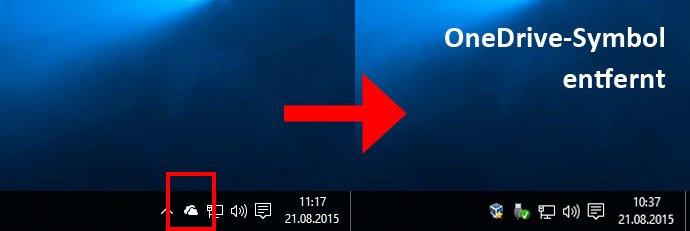 OneDrive lässt sich komplett aus Windows 10 deinstallieren samt Taskleisten-Symbol.