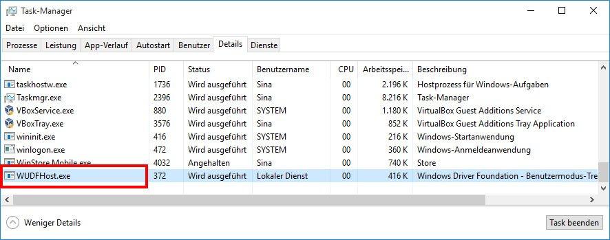 Windows 10: Der Prozess WUDFHost.exe soll ebenfalls eine hohe CPU-Auslastung auslösen.