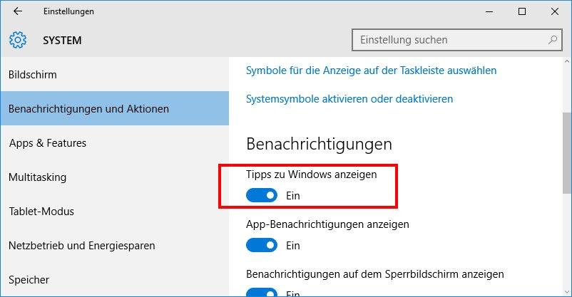 Windows 10: Hier deaktiviert ihr die Tipps zu Windows 10.