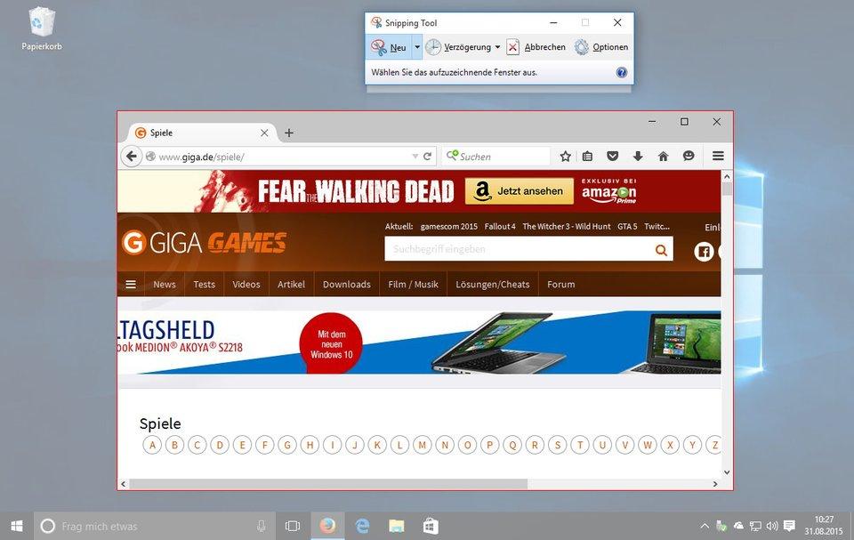 Windows 10: Mit dem Snipping Tool erstellt ihr Screenshots und fügt Notizen und Anmerkungen hinzu.