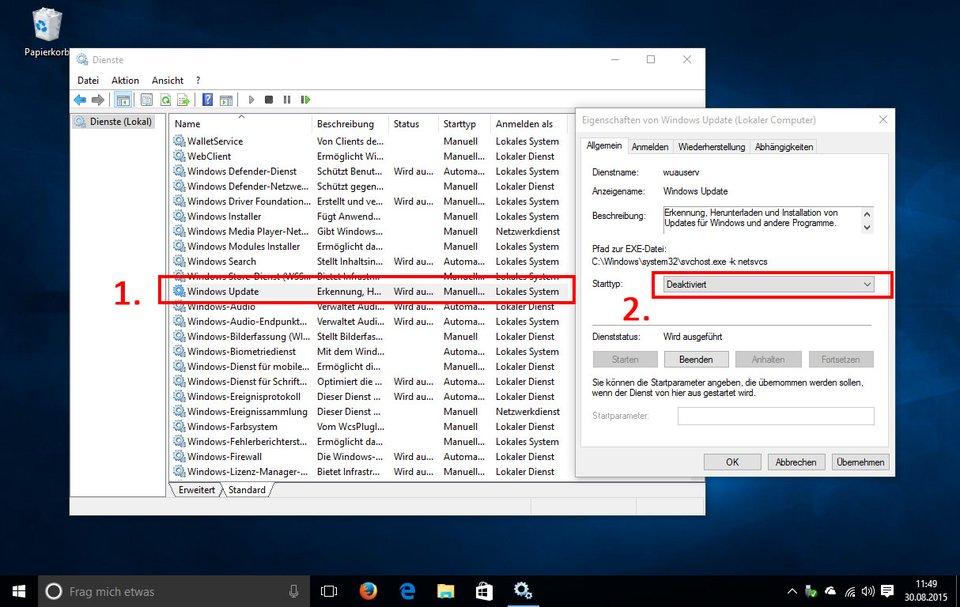 Windows 10: Hier deaktiviert ihr den Update-Dienst.