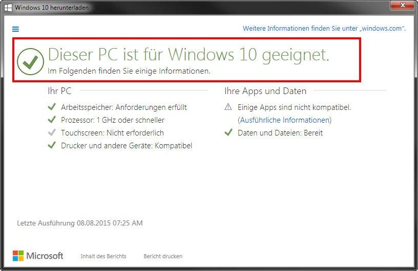 Der Upgrade Advisor sagt, dass der PC für Windows 10 geeignet ist.