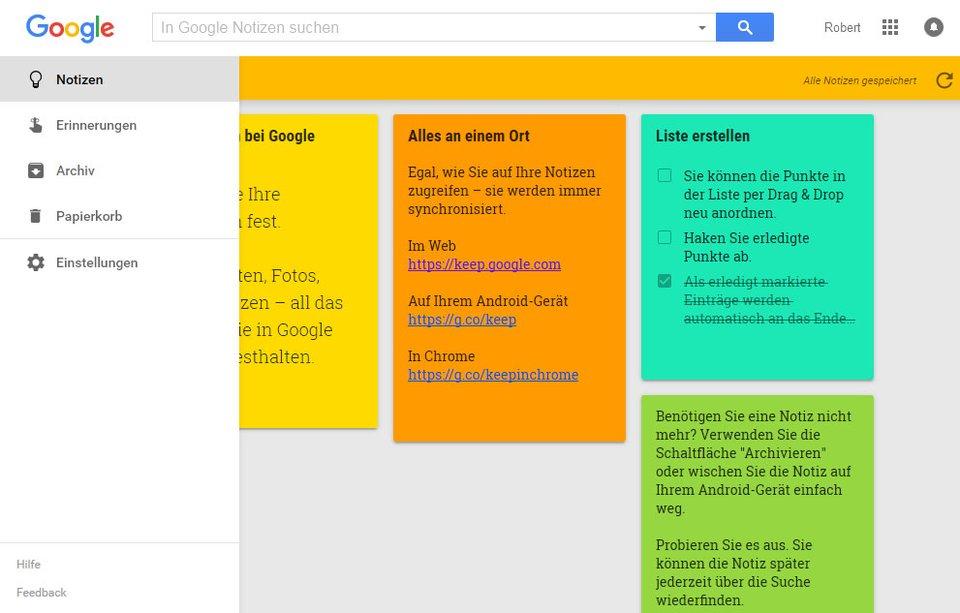 Wie Post-Its erstellt ihr in Google Keep neue Notizen und Listen.