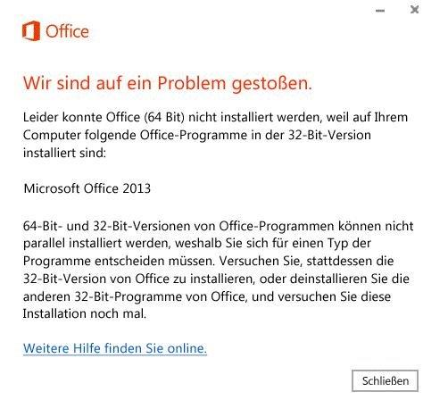 Office 2016 Installation Fehlermeldung