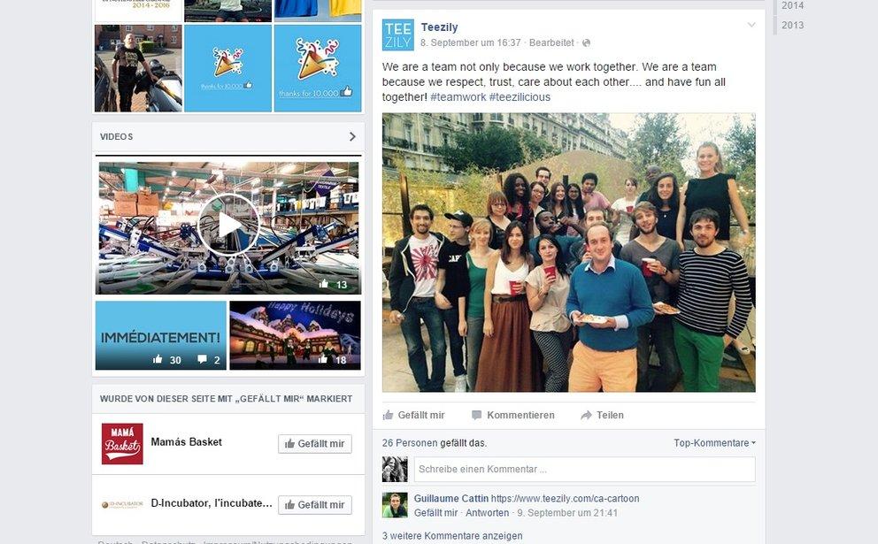 Das team von teezily auf ihrem facebook auftritt