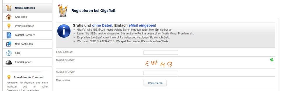 screenshot von gigaflat dem ersten selbsternannten kostenlosen usenet provider
