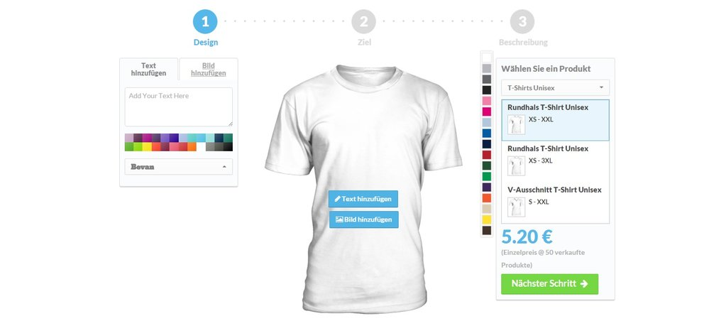 teezily screenshot design tool für die t-shirts