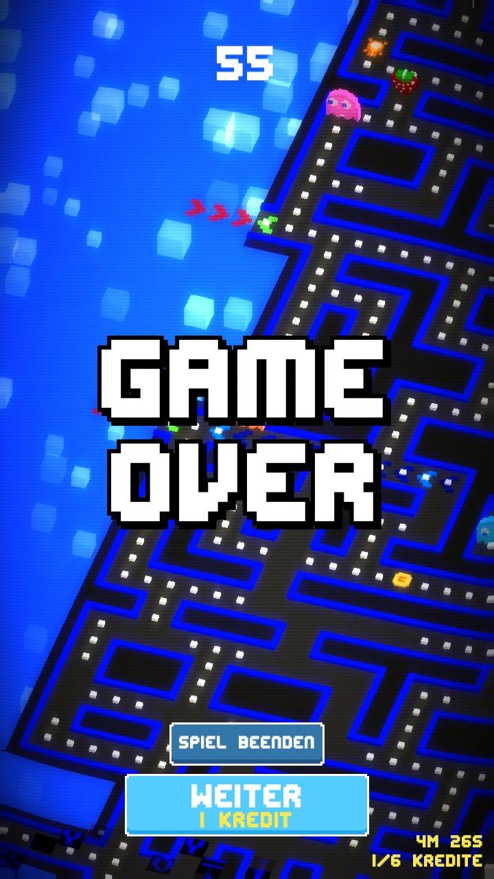 Game Over Bild aus Pac Man 256 für android und ios