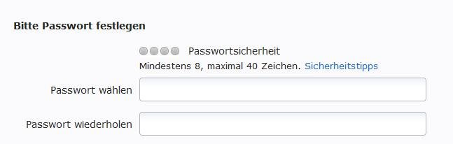 Web de Passwort eingeben