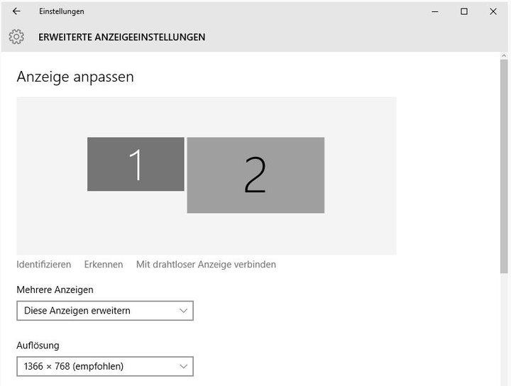 Windows 10 Anzeigeeinstellungen