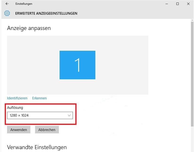 Windows 10 Auflösung