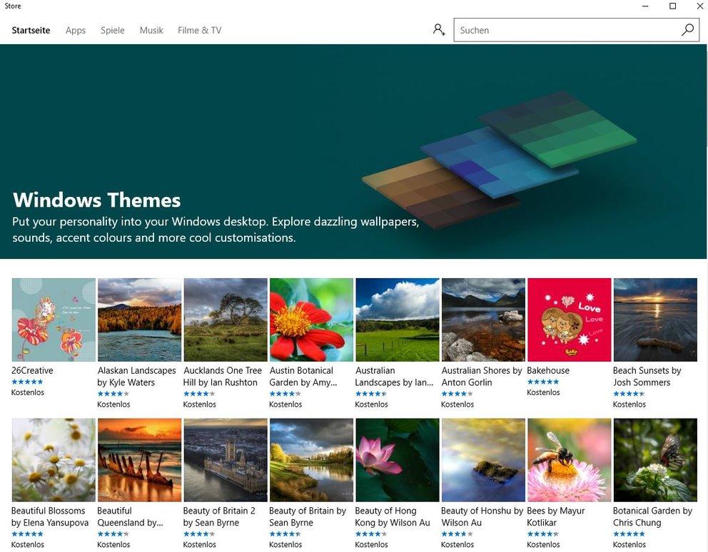 Windows 10 Themes kostenlos