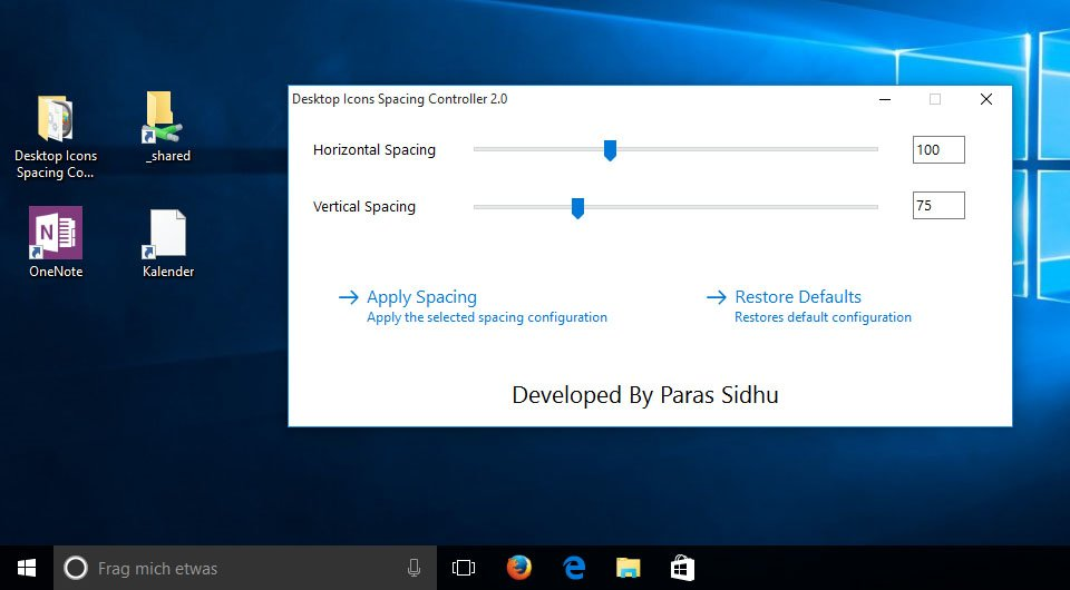 Windows 10: Die Abstände der Desktop-Symbole sind nun kleiner.