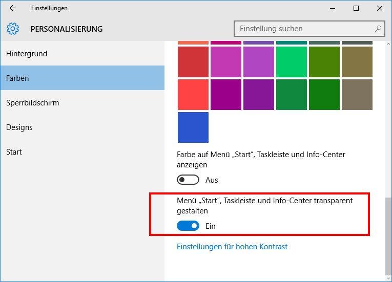Windows 10 Transparente Taskleiste