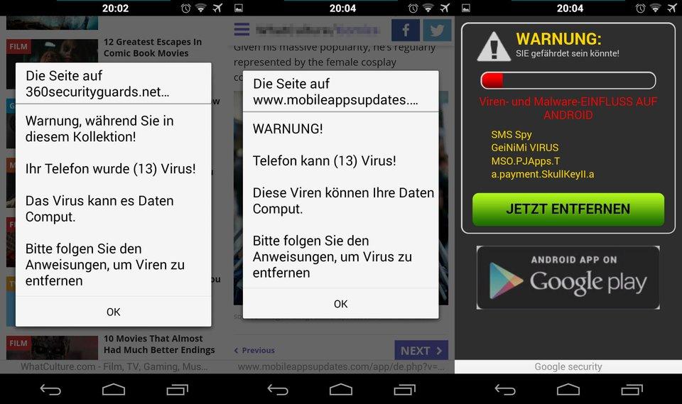 Android-Warnung: Angeblich soll ein Virus (13) auf dem Smartphone sein.