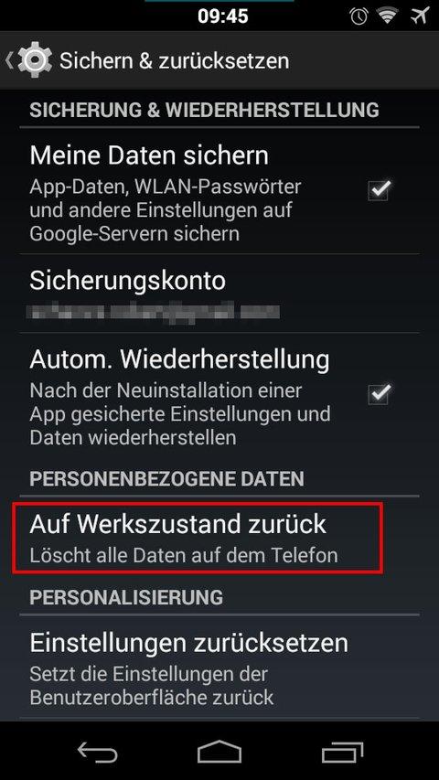 Wenn das Android-Smartphone mit Malware infiziert ist, hilft das Zurücksetzen auf Werkseinstellungen.