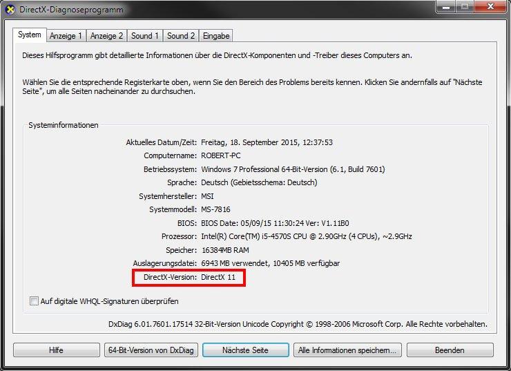 directx 11 auf windows 10 installieren