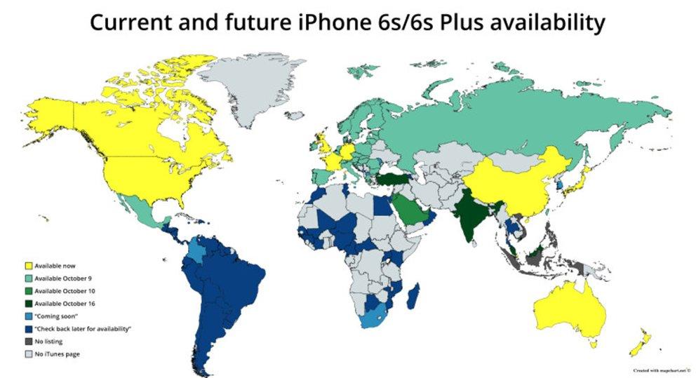 Die Welt Karte.Iphone 6s Erobert Die Welt Karte Zeigt Weltweite Verfugbarkeit