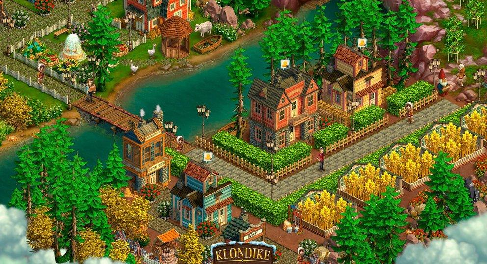 Klondike: Erbaut eine Stadt zur Goldgräberzeit in Amerika.