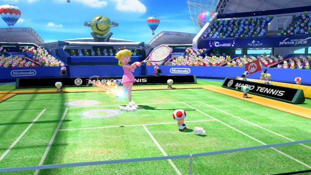 Mario Tennis - Ultra Smash: Mit dem Riesenpilz schafft ihr euch Vorteile auf dem Grün.