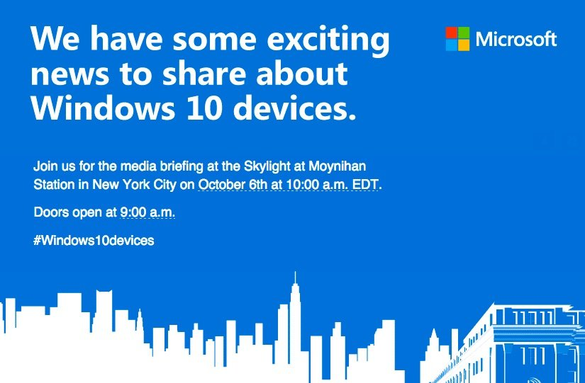 ms 6 oktober 2015 windows 10 surface pro 4 lumia 950 event