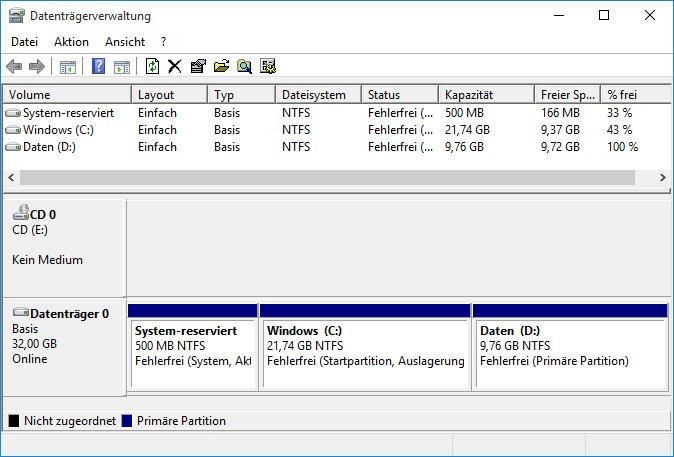 Die Datenträgerverwaltung zeigt in der unteren Grafik an, wie die Partitionen auf eurer Festplatte liegen.
