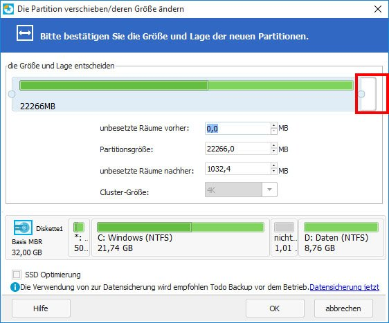 Hier vergrößert ihr eure Partition in Windows.