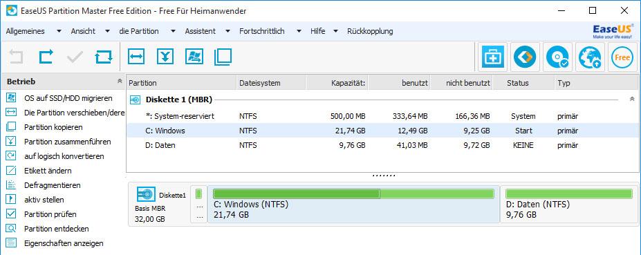 windows xp partition vergrößern
