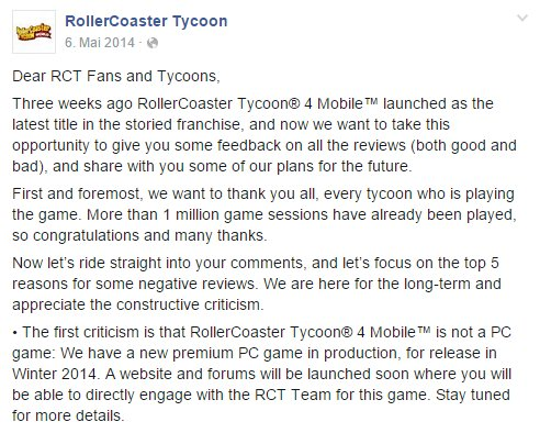 Rollercoaster Tycoon Facebook