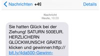 500€ bei Saturn gewonnen? Diese SMS ist eine Spamfalle!