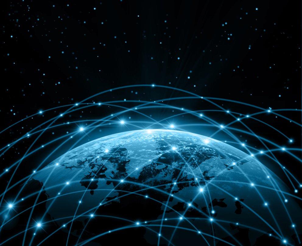 Usenet weltweit symbolisch ein planet mit netzwerkverbindungen rundherum