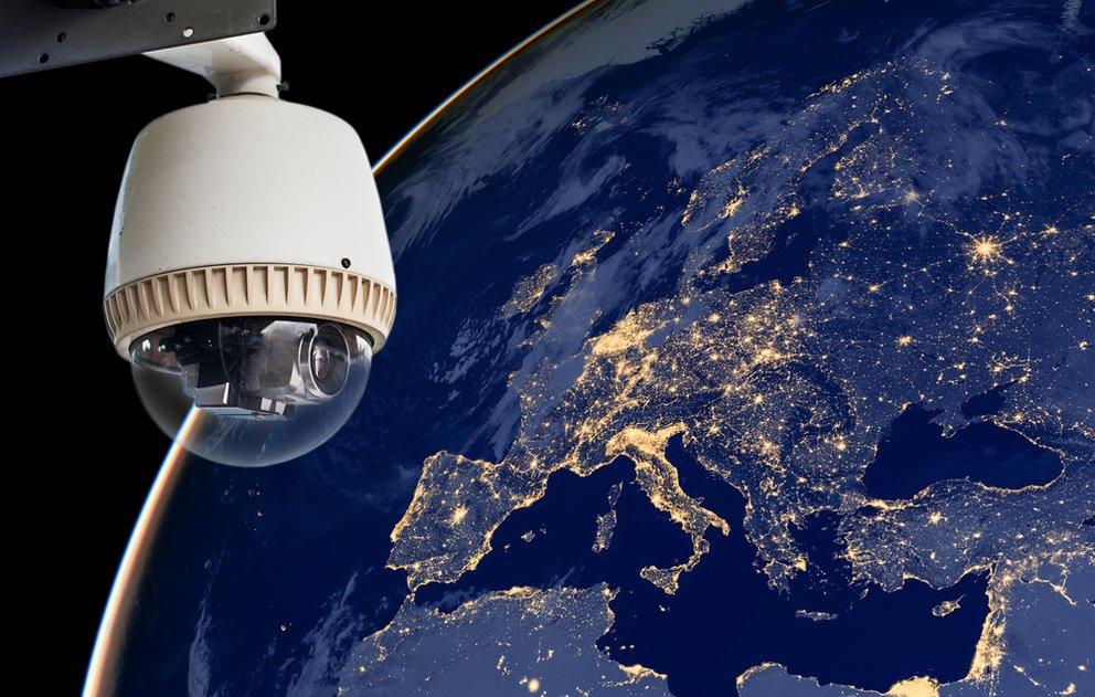 Überwachungskamera blickt auf europa