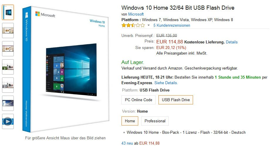 Wer Windows 10 als Retail-Version im Handel kauft, bekommt einen Key, der eingegeben werden muss.