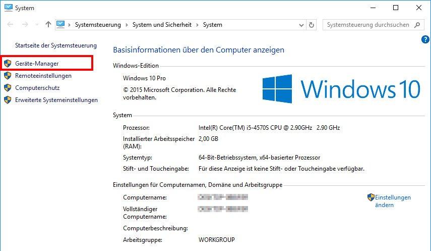 Windows 10: So öffnet ihr den Gerätemanager über das System-Fenster.