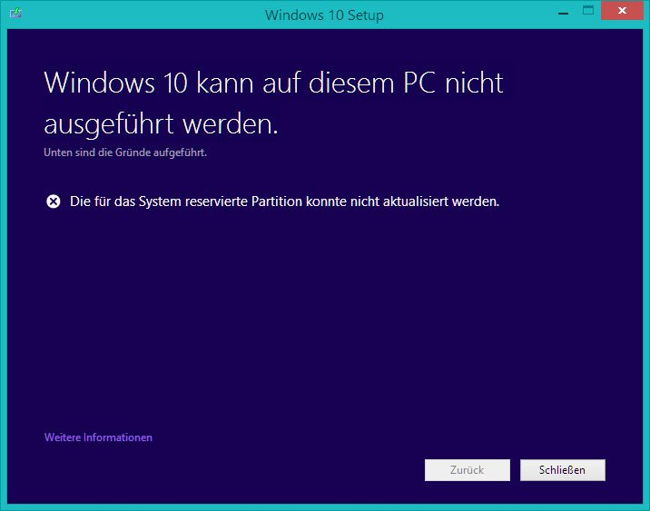 "Windows 10 hat bei der Installation Probleme mit der Partition ""System-reserviert""."
