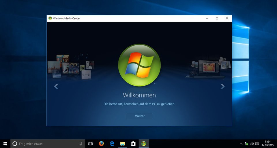 Windows 10: Das Windows Media Center mit deutscher Sprache.