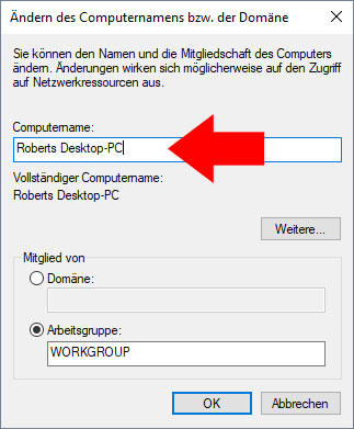 pc namen ändern windows 7