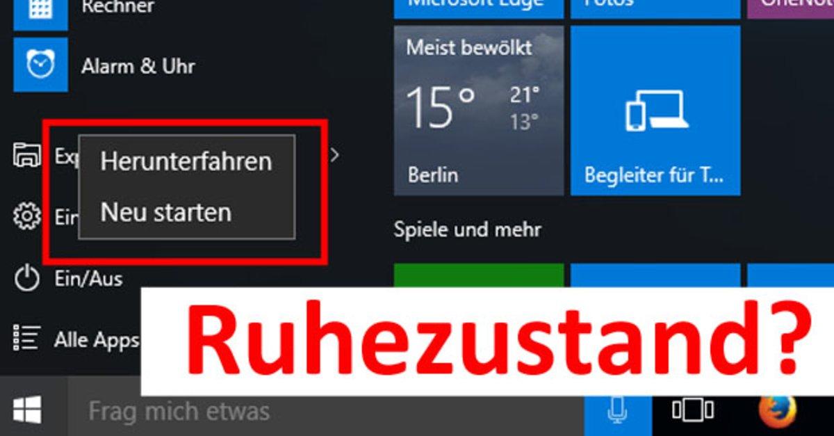 Windows 10 Ruhezustand Aktivieren Und Deaktivieren So Gehts Giga