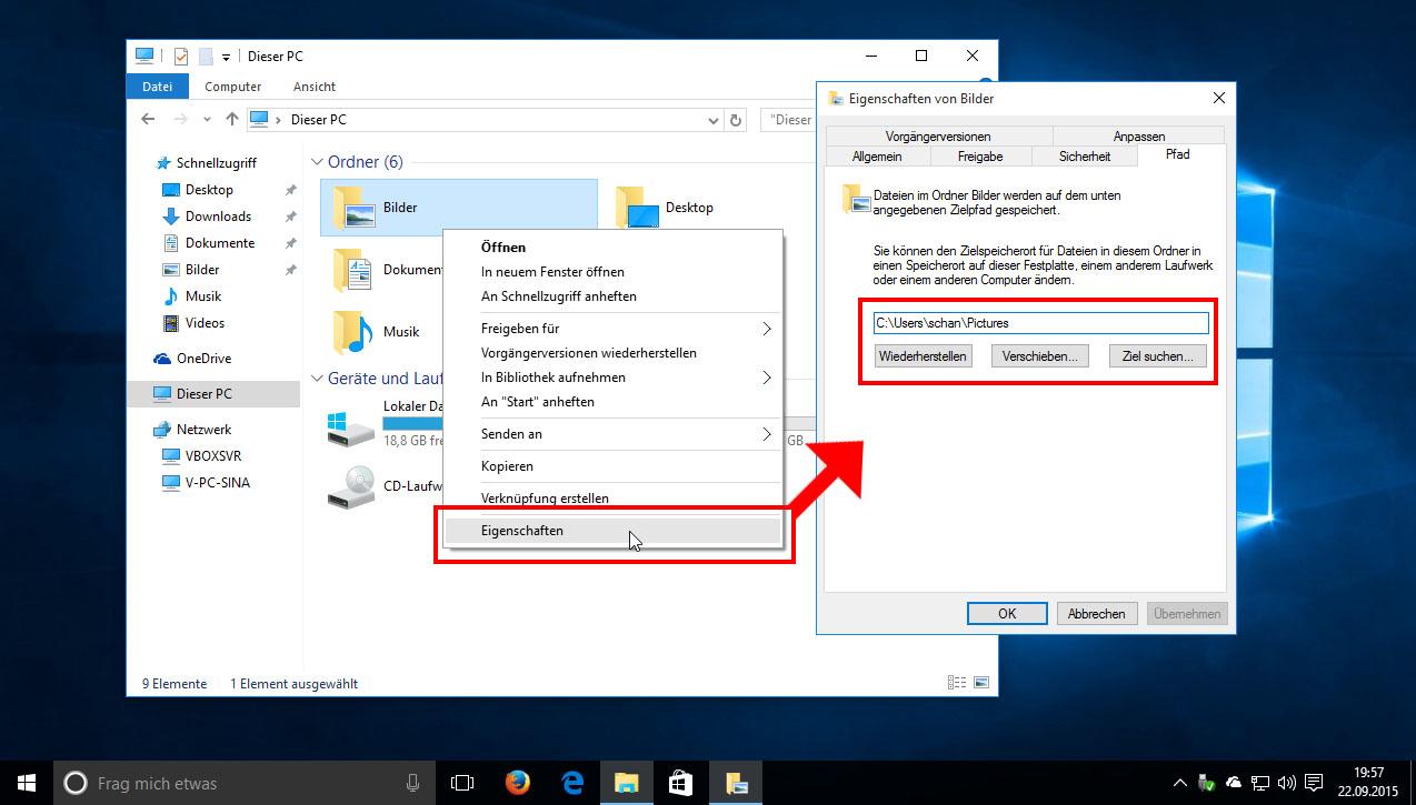 windows 10, 7 und 8: eigene dateien auf andere partition verschieben