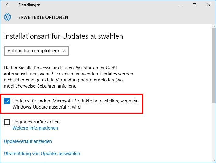 Wenn ihr die Option aktiviert habt, sucht Windows automatisch nach Outlook-Updates.