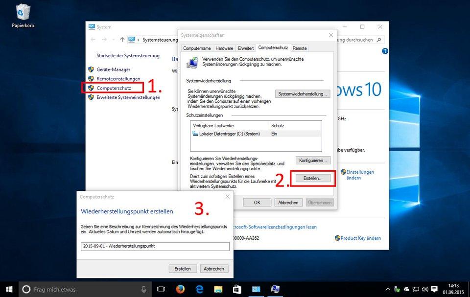Windows 10: So erstellt ihr einen Wiederherstellungspunkt.
