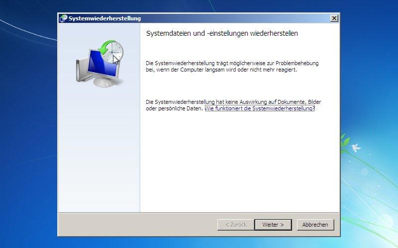 Ein Systemwiederherstellungspunkt lässt sich auch über die Setup-DVD laden, wenn Windows nicht mehr funktioniert.