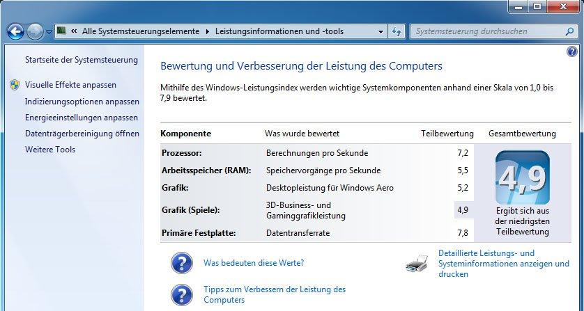 Windows-Leistungsindex: Wer hier eine neue Grafikkarte einbauen will, sollte auch gleich den Arbeitsspeicher aufrüsten.