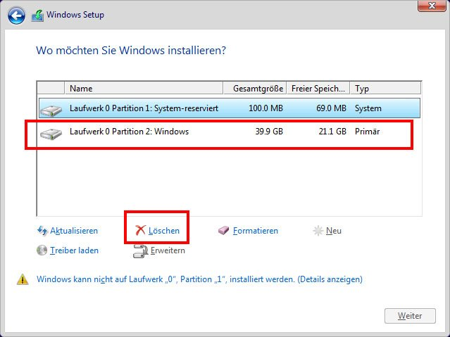 Windows-Installation: So löscht ihr die alte Windows-Partition.