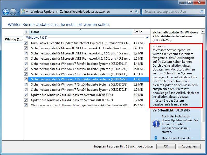KB3086255: In der Beschreibung des Updates fällt nicht einmal das Wort Safedisc oder Kopierschutz.