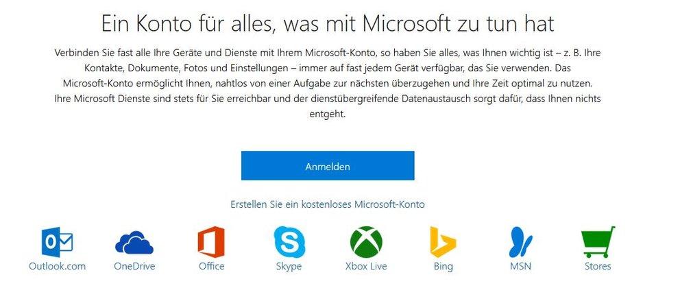 Microsoft Konto Banner