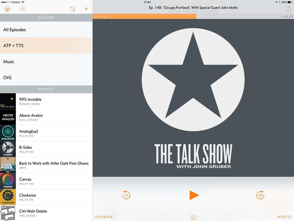 Overcast 2.5 auf dem iPad Pro